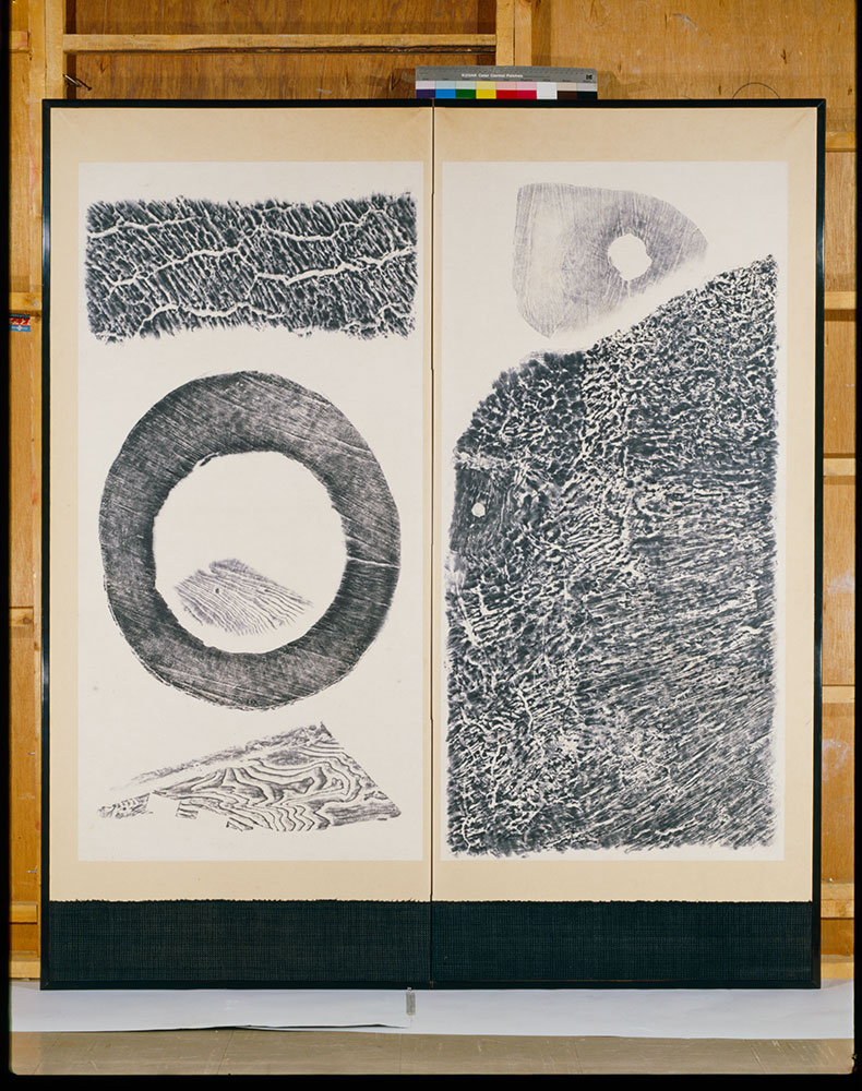 Nature, 1952, by Saburo Hasegawa (Japanese, 1906–1957). Wood rubbings; ink on paper.